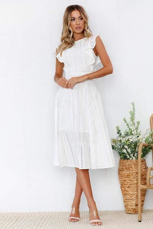 Vestido blanco midi para noche informal