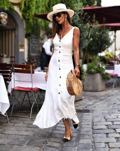Vestido camiero blanco para noche informal