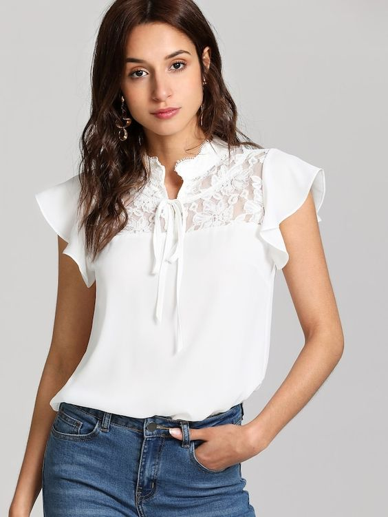 blusa blanca con encaje para look noche cena informal con amigos