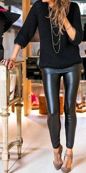 calza nera y sweaer para un look noche