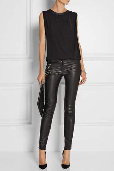 look simple para la noche cn pantalon de cuero negro