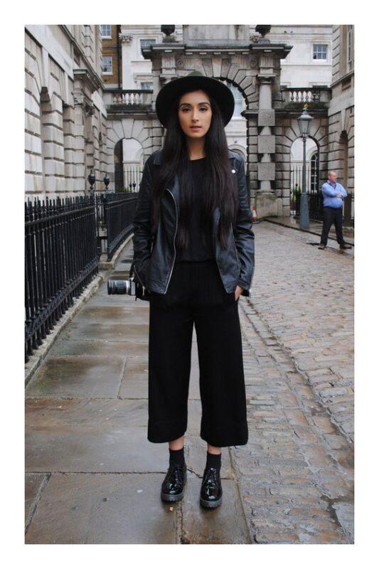 outfit noche con pantalon ancho negro