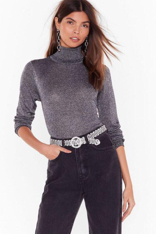 sweater cuello toturga con brillo noche cena informal