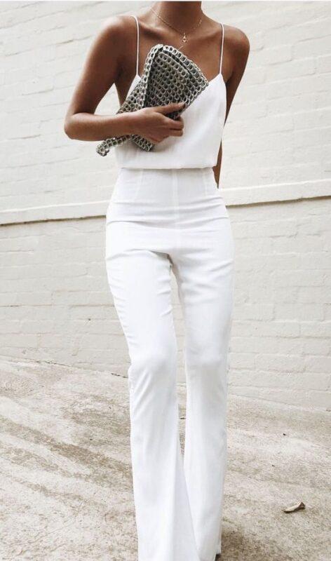 top y pantalon de vestir blanco noche de verano