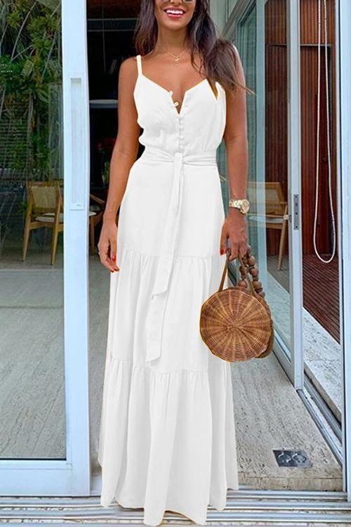 vestido blanco largo para noche informal de verano