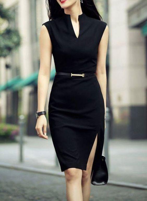 vestido negro cena formal