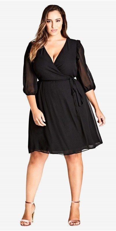 vestido negro corto noche informal cruzado tqalla grande