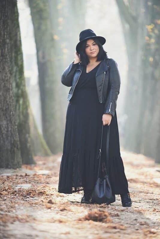 vestido negro largo para noche informal talla grande