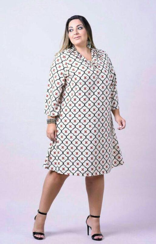 vestido tunica estampada talla grande