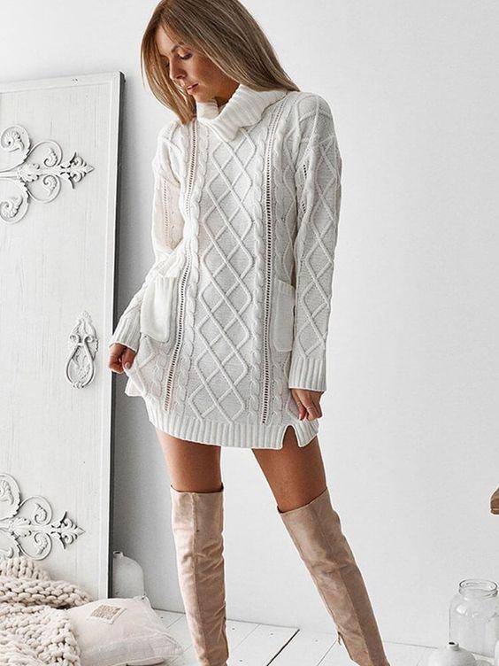 vestidos tejidos de punto blancos