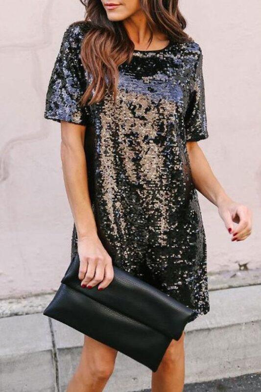 Vestido de lentejuelas negro estilo remeron
