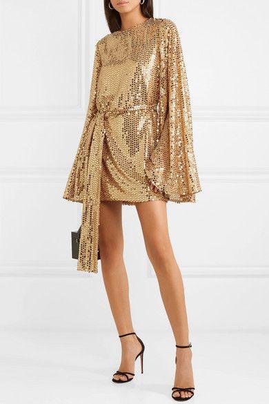 Vestido dorado de lentejuelas mangas largas
