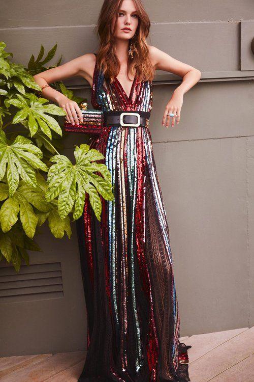 Vestido largo de lentejuelas multicolor