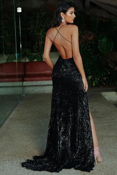 Vestido negro de lentejuelas espalda descubierta