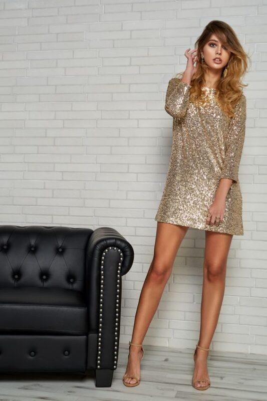 Vestilo de lentejuelas dorado estilo remeron para ir a bailar
