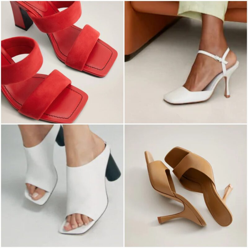 Zapatos y sandalias con punta cuadrada noche de fiesta 2021