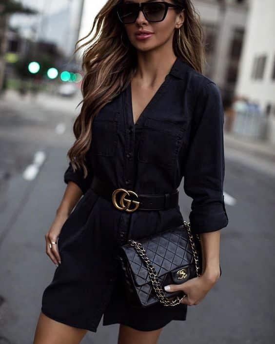 vestido camisero negro noche casual