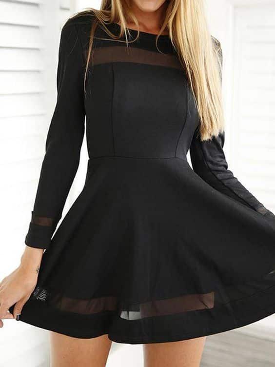 vestido corto negro noche invierno