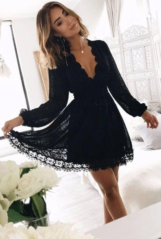 vestido de encaje mangas largas negro