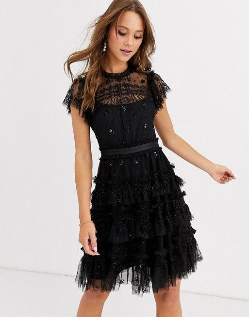 vestido negro corto tul bordo noche