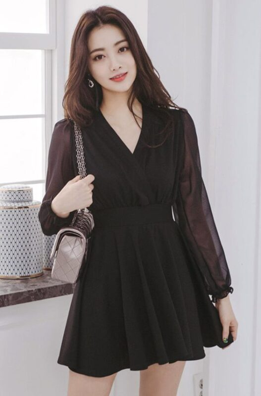 vestido negro noche mangas largas