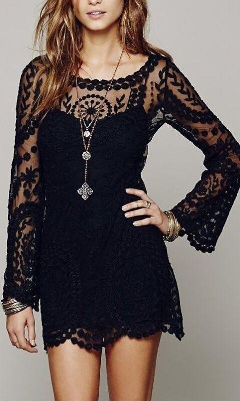 vestidos cortos negros para la noche