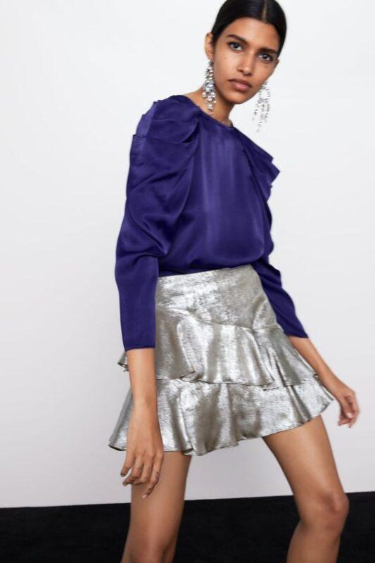 minifalda con volantes metalizadas