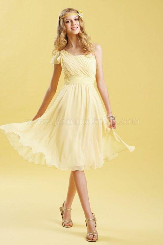 Vestido corto de gasa amarillo claro