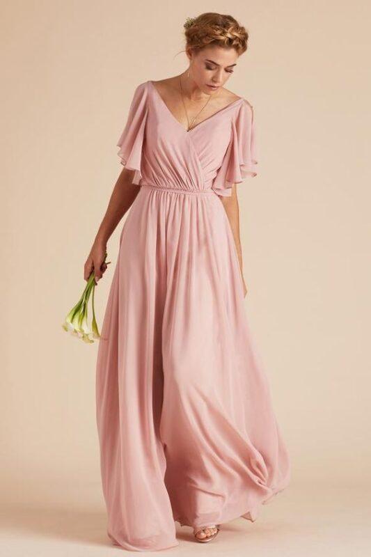 Vestido rosa claro para fiesta lago