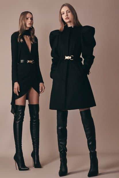 Vestidos de noche con botas altas para invierno