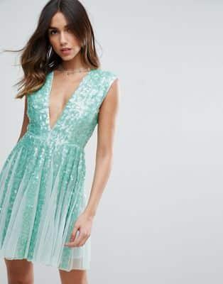 Vestidos verde agua con brillo