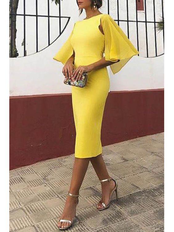 vestido amarillo al cuerpo para la noche