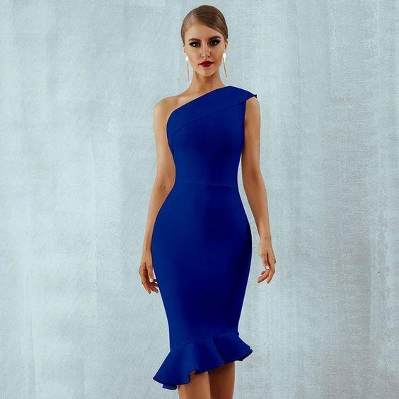 vestido azul francia al cuerpo para la noche