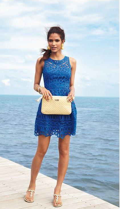 vestido azul francia calado para la noche