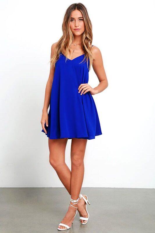 vestido azul francia corto para la noche