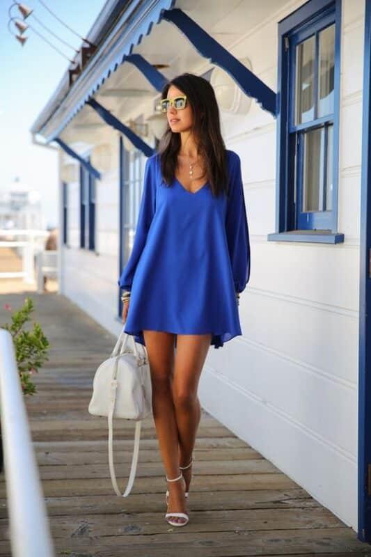 vestido corto azul francia para la noche
