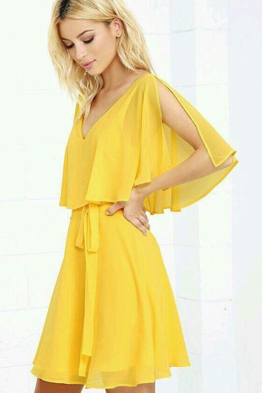 vestido de gasa amarilla para la noche