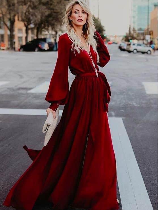 vestido largo para noche de invierno elegante