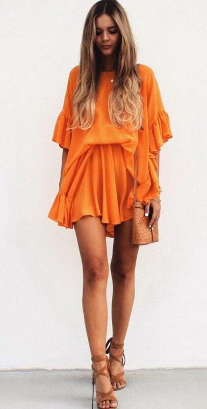 vestido naranja bohemio para la noche