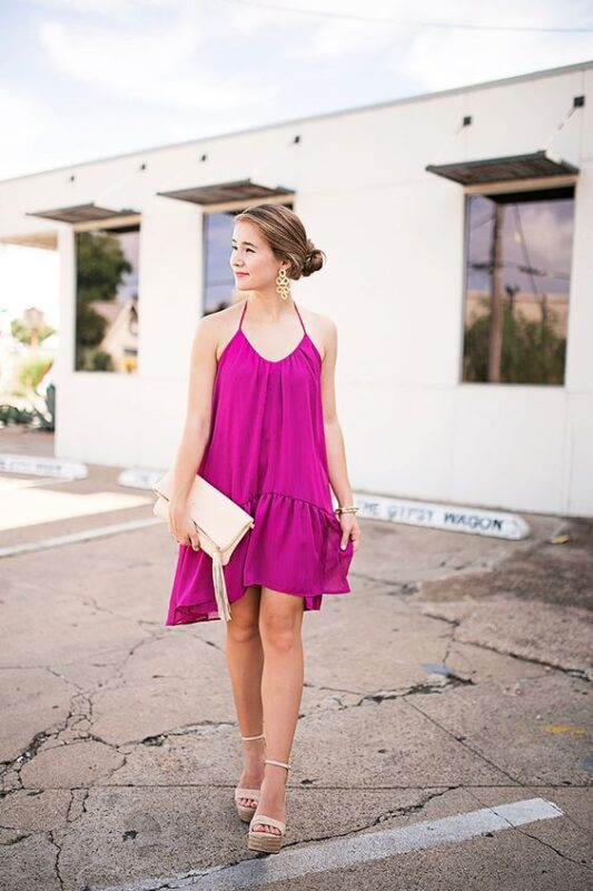vestido purpura holgado para la noche
