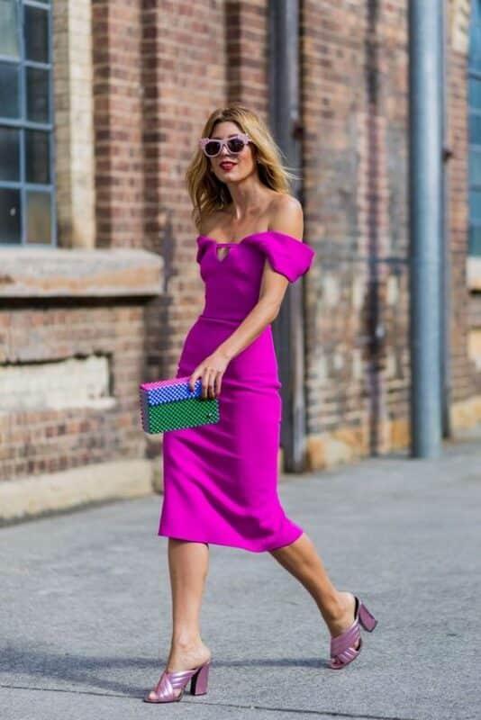 vestido purpura para salir de noche