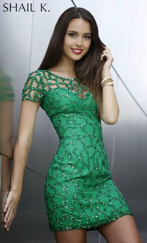 vestido verde con brillo