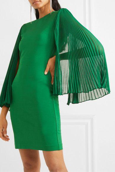 vestido verde con mangas plisadas para la noche
