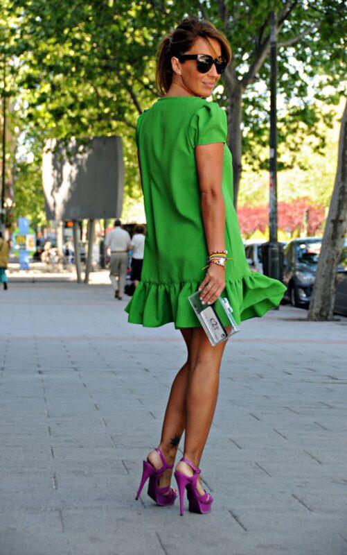 vestido verde corto para la noche