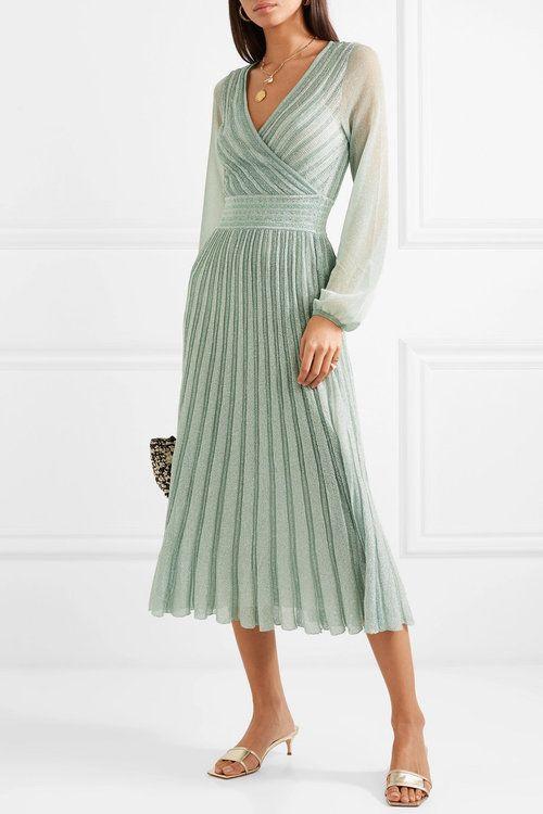 vestido verde menta plisado largo midi para fiesta
