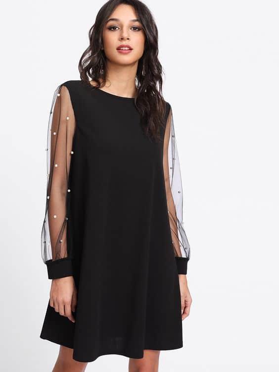 vestidos de coctel negro invierno con mangas te tul