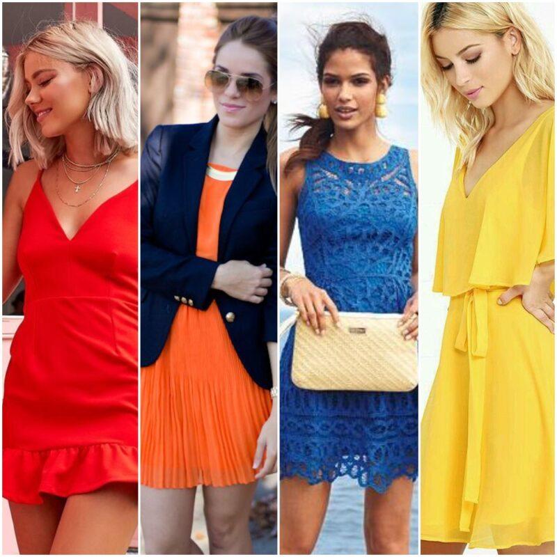 vestidos de colores alegres para la noche