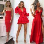 Outfits con vestido rojo para una noche de fiesta