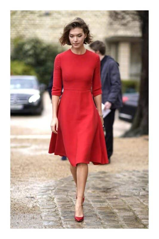 Vestido Rojo formal con mangas