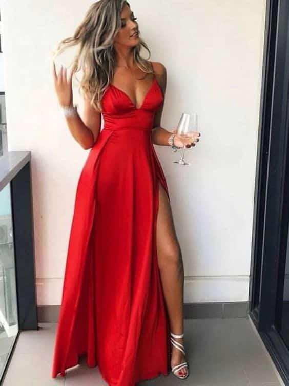 Vestido Rojo largo juvenil